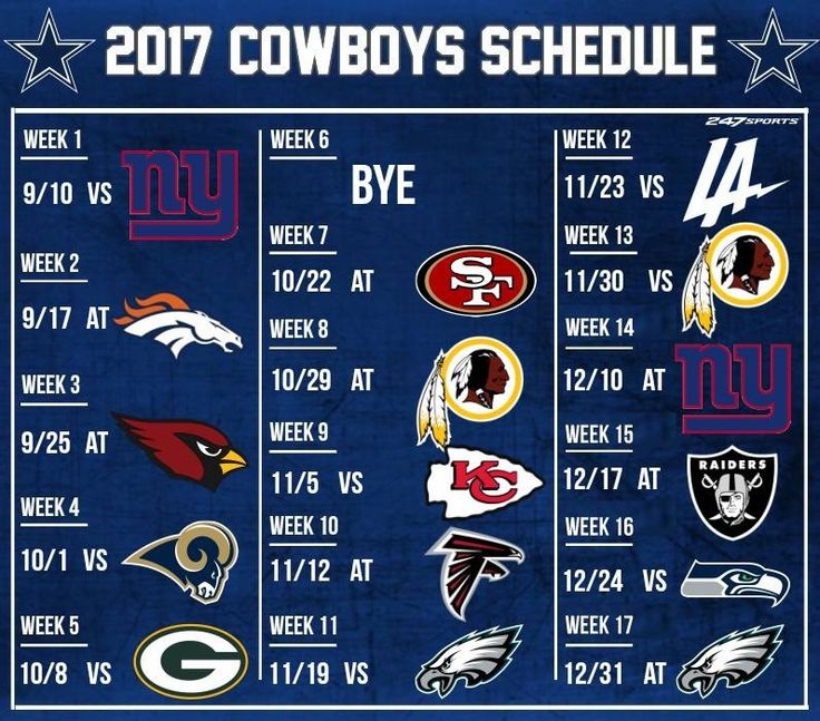 Dallas Cowboys schedule 2017