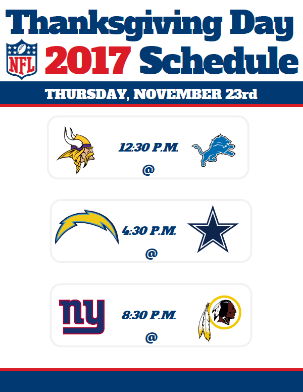 Thanksgiving Day Nfl Schedule 2017 Previewing Cowboys